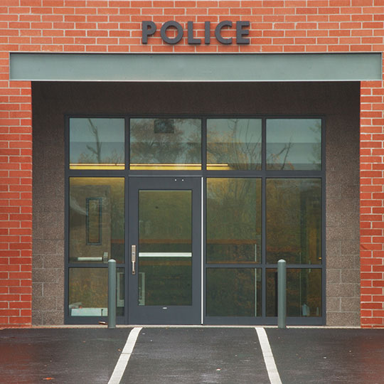 Exterior of police station doors