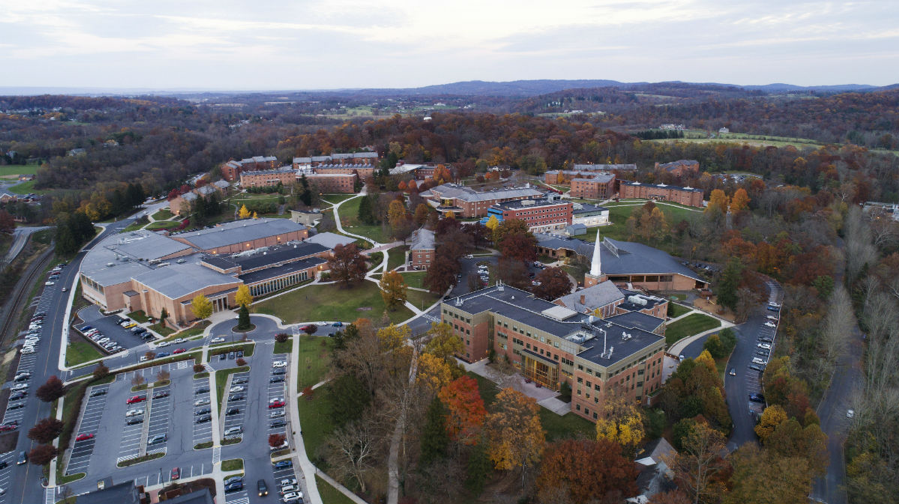 aerial view of Messiah University's campus