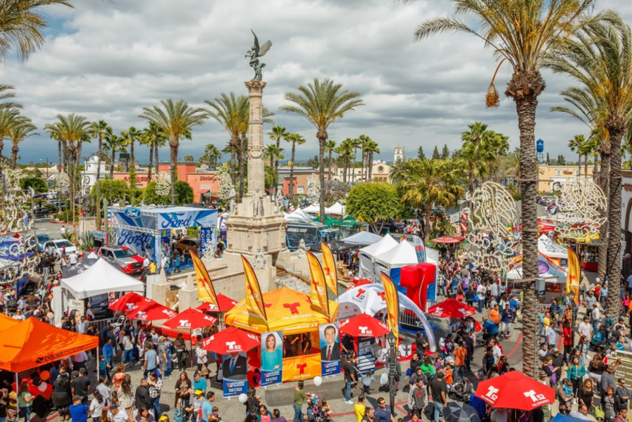 overhead view of Plaza Mexico outdoor market in Los Angeles