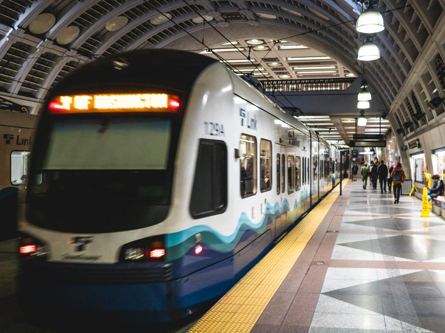 Seattle Sound Transit subway train at a station