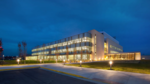 Nighttime view of USDA's NCAH building in Ames, Iowa
